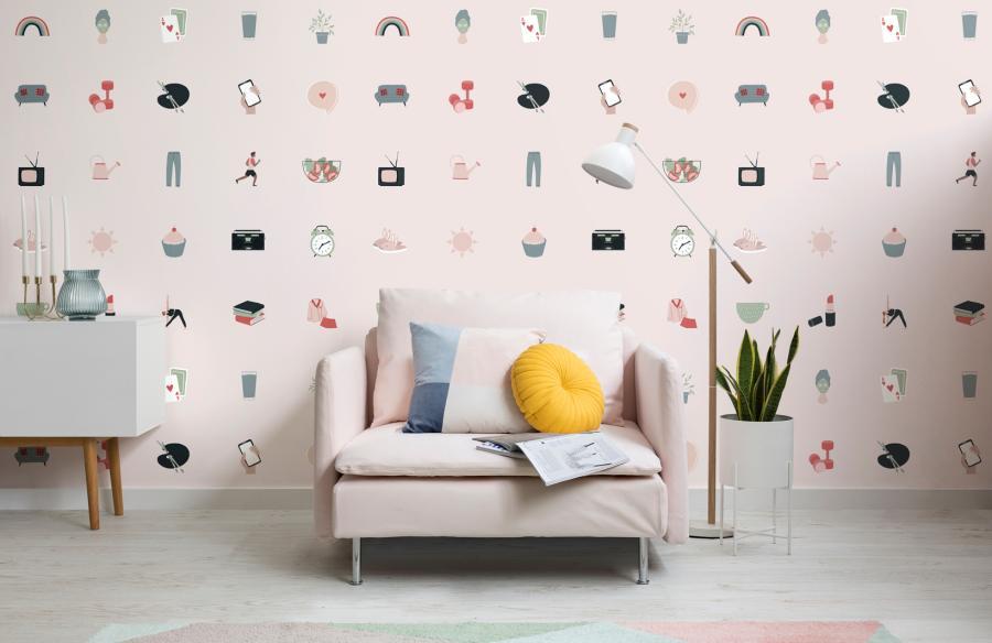 Papeles pintados inspirados en el cuidado personal