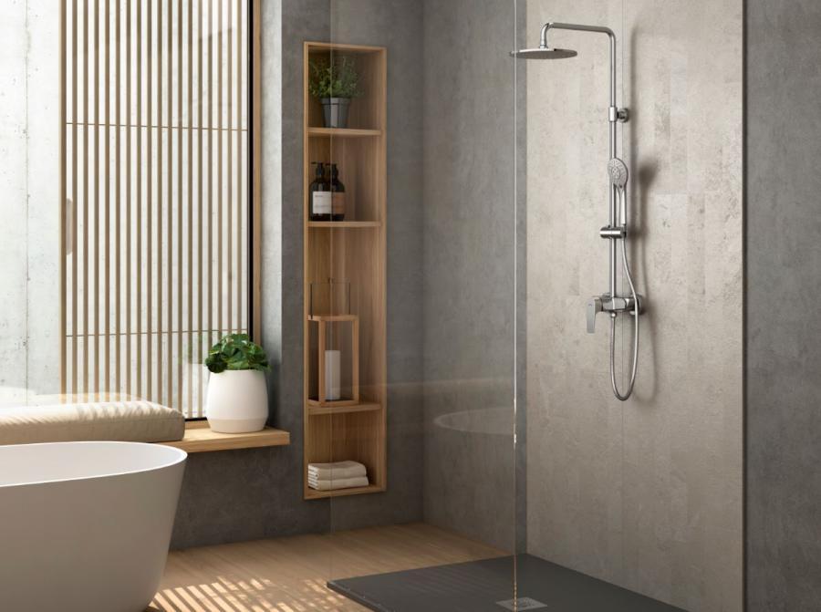 Genebre presenta su nueva columna de ducha extensible con sistema GE-EASY de la nueva serie Koral