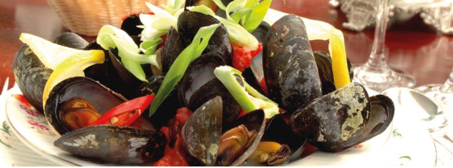 Mejillones calientes de Cashel con ajo, tomate y guindilla