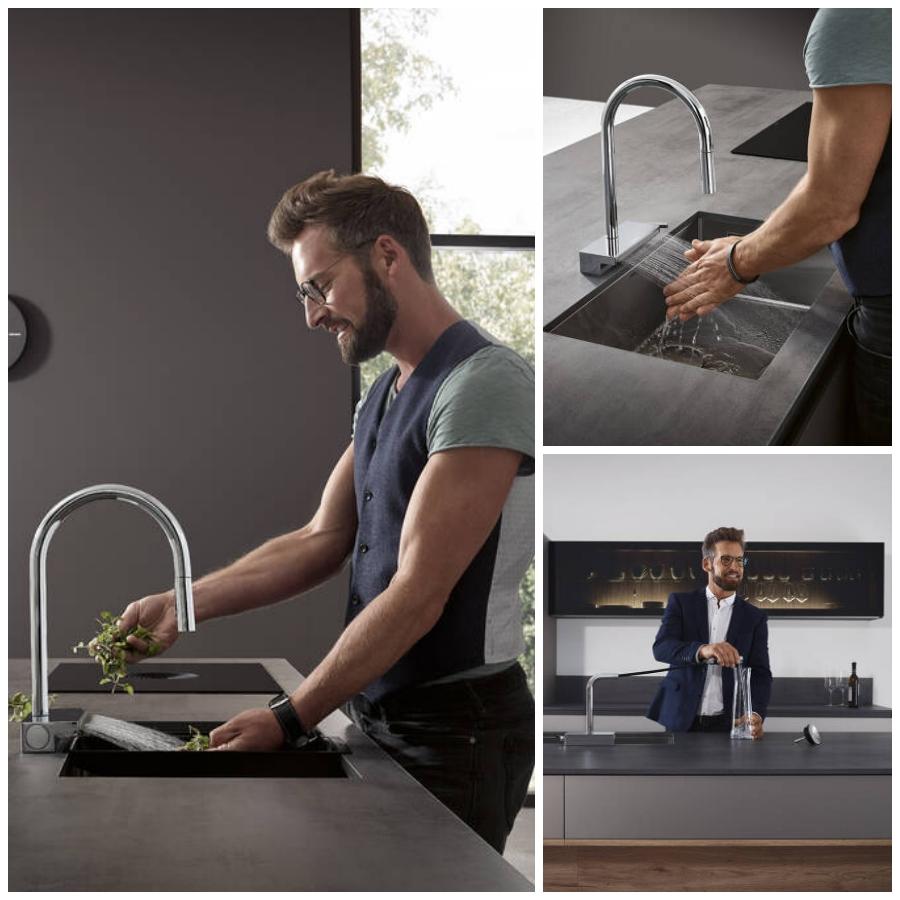 La nueva grifería Aquno Select M81 de hansgrohe ofrece diseño y versatilidad en la cocina