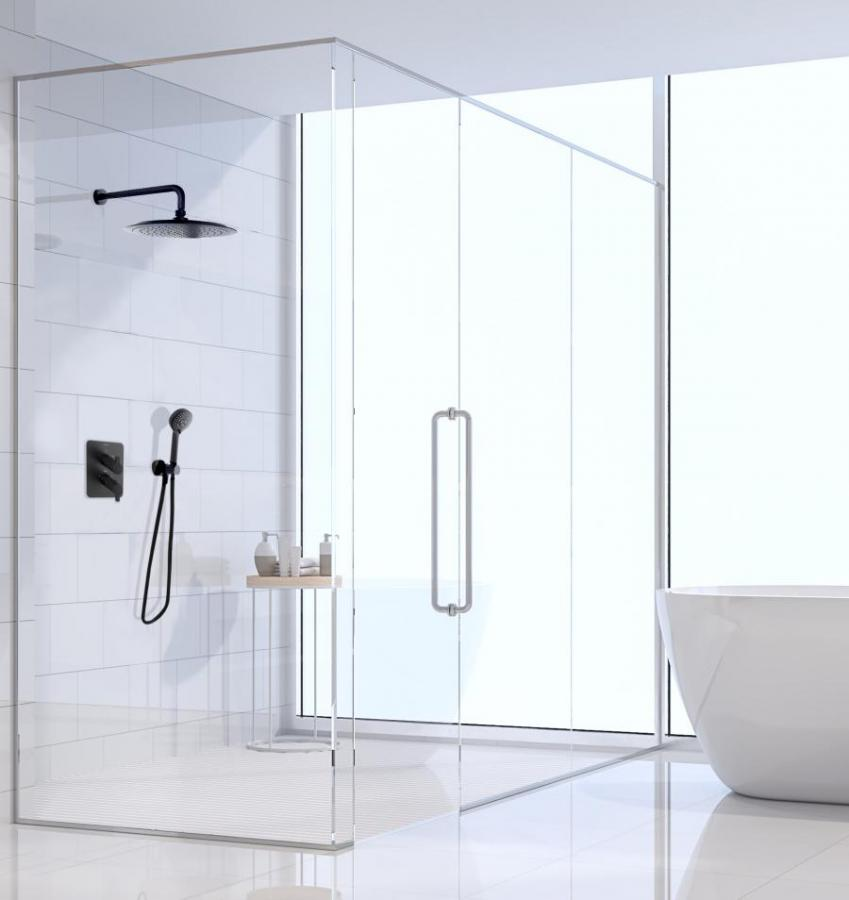 Conjunto de ducha empotrado y termostático, negro mate de Ramon Soler®